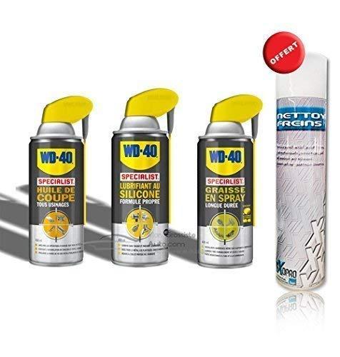 Pack WD40 : Lubrifiant au silicone + Huile de coupe + Graisse en spray 400ml + Dégraissant mécanique Offert