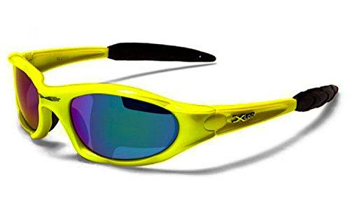 Occhiali da Sole X-Loop - Sport - Ciclismo - Sci - Driving - Moto - Arrampicata / Mod. 1002 Giallo Blu Semi Specchio