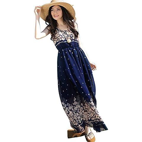 Moollyfox Mujer Floral De La Fiesta De Playa De Boho Del Verano De Noche Largo De La Gasa Vestido De Tirantes Vestido Como Imagen M Azul Zafiro