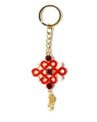 Colore rosso oro Mystic Knot Feng Shui Simbolo - Feng Shui Buona fortuna e protezione Cure portachiavi di cristallo di fascino borsa pendente del sacchetto anello portachiavi regalo nuovo