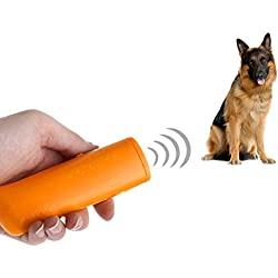 Yxaomite LED Ultraschall Hunde Repeller und Trainer Gerät Haustier Hundetraining Stop Barking 3 in 1 Anti Bellen Stop Rinde Handheld Hunde Trainingsgerät Deterrent(Gelb)