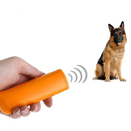 Yxaomite LED Ultraschall Hunde Repeller und Trainer Gerät Haustier Hundetraining Stop Barking 3 in 1 Anti Bellen Stop Rinde Handheld Hunde Trainingsgerät Deterrent(Gelb) -