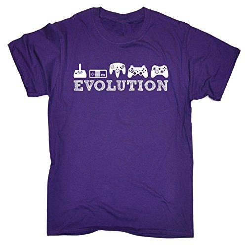 123t Slogans T-shirt ample humoristique pour hommes et femmes Inscription Evolution/motif manettes de jeux vidéo Idée cadeau anniversaire -  Violet - XXL
