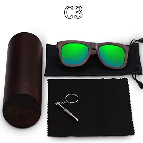 DAIYSNAFDN Holz Sonnenbrillen für Männer & Frauen Eyeglasse polarisierte Gläser Brille Vintage Design Shades Uv400 C3