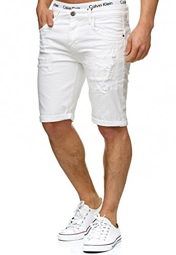 Indicode Herren Caden Jeans Shorts Kurze Denim Hose mit Destroyed-Optik aus Stretch-Material Regular Fit Off White 3XL -