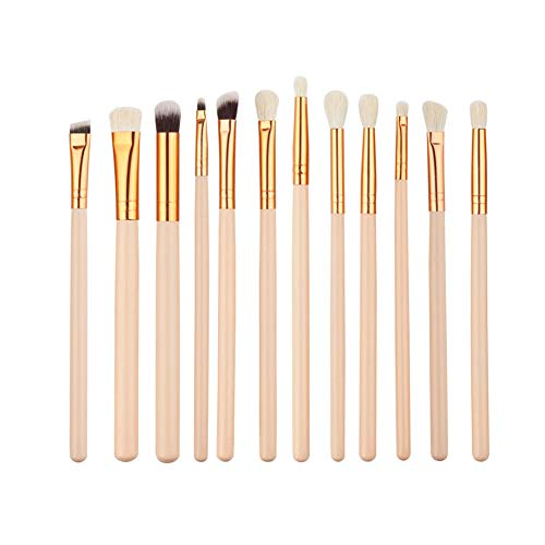 TYY-guang 12PCS / Set Profi Augen Make-up-Bürsten-Satz Synthetic Fibers Make-up Pinsel Reiseset, Kosmetik, Lidschatten Eyeliner Augenbrauen-Blending Pinsel Make Up Tool (Beige) -