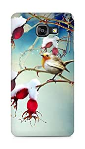 AMEZ Winter Snowy Cotton Branch Bird Scene Back Cover For Samsung Galaxy A5 (2016 EDITION)