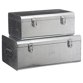 DEPOTMANIA Set de 2 Coffres Malles de Rangement en métal brossé - Esprit Cantine - Coloris Gris