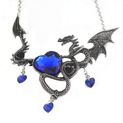 Scrox 1PCS Ornamenten Halloween-Legierung Modus-Persönlichkeit Halskette Dragon in Herzform unterstreichen die Schönheit der Schlüsselbein Halskette Halloween-11* 11.3cm