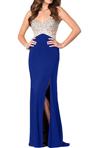 ivyd ressing robe haute qualité strass fente Spaghetti Prom Party robe robe du soir bleu roi