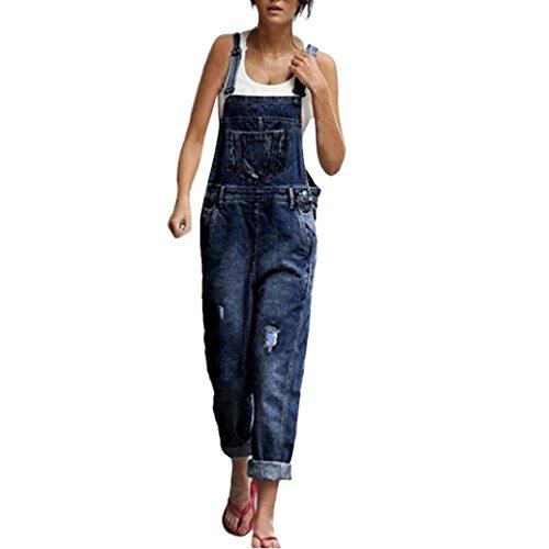Latzhose FORH Damen Klassisch Vintage Latzhose Jeans Sexy Röhrenjeans Bodycon Strap Jeans Fashion Taschen Denim Hole Jeans Stretch Hosen Casual Sommer Spielanzug Jumpsuit Overalls (Blau, S) (Klassische Denim-overalls)