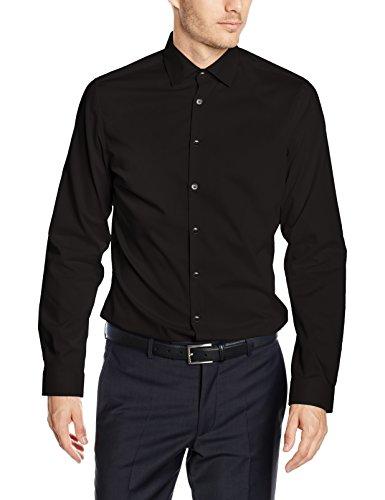Seidensticker Herren Business Hemd Slim Fit Langarm Uni mit Kent-Kragen Bügelfrei, Schwarz (Schwarz 39), Kragenweite: 43 cm