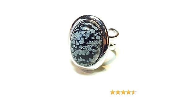 Obsidian de Flocon de Neige BlackCat Bague Classique avec Pierre Semi-pr/écieux Ajustable 23 x 17mm