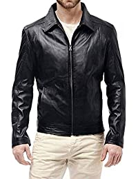 Flesh & Hide F&H Mens Slim Fit Premium Synthetic Leather Jacket FJ118