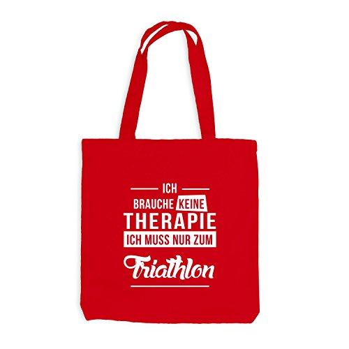 Jutebeutel - Ich Brauche Keine Therapie Triathlon Rot