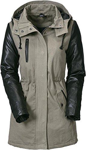 Forplay Leatherlook Sleeve Jacket Girl-Mantel oliv/schwarz Oliv/Schwarz