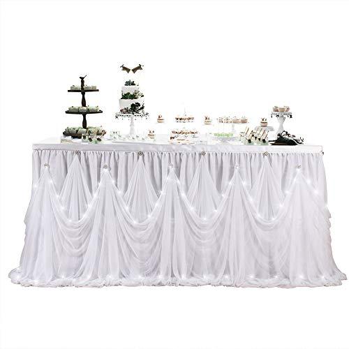 ETbotu Tisch Rock,LED Diamante Style für Party Hochzeit Geburtstag (mit Lampe) weiß, 6 (ft) x 30 (in) -