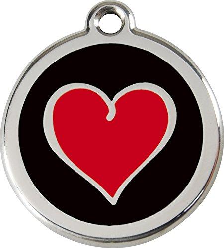Red Dingo Medaille Für Hunde schwarz Herz rot 30mm
