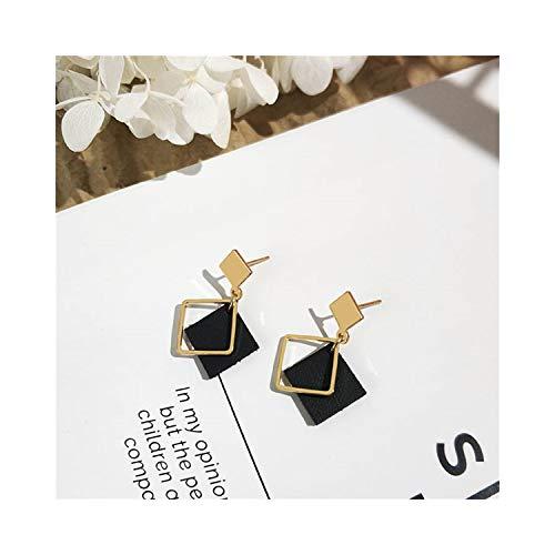 Ohrhänger, NEW Arrivals Women's Fashion Simple Geometric Hollow Square Earrings Wine Red Leather Drop Earrings For Women Jewelry Black
