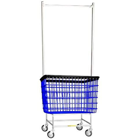 R&B Wire 200H56 6 Bu. Large Laundry Cart with Double Pole Rack by R&B Wire - Rb Wire