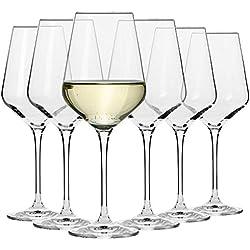 Krosno Grande Verre à Vin Blanc | Lot de 6 | 390 ML | Collection Avant-Garde | Parfait la Maison, Les Restaurants, Les Fêtes | Lave-Vaisselle et Micro-Ondes