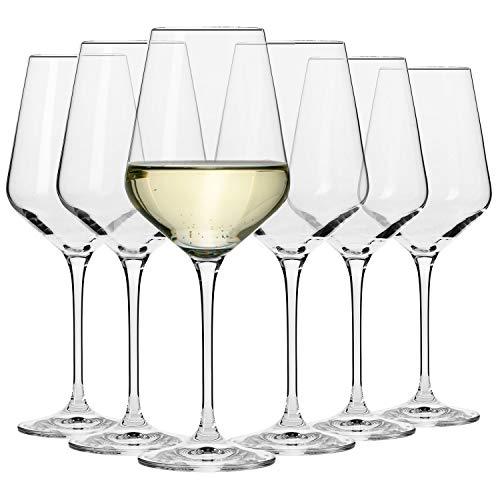 Krosno Große Weißweingläser | Set von 6 | 390 ML | Avant-Garde Kollektion | Perfekt für zu Hause, Restaurants und Partys | Spülmaschinenfest und Mikrowellengeeignet
