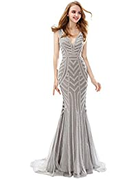 4ff32df85a9 Sarahbridal Evening Gowns for Women Long Mermaid Prom Dresses Elegant Party  Ball Beaded with Sequins for