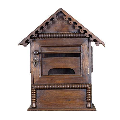 Briefkasten - Holz, erhöhen Wand hängend im Freien mit Schloss-Zuhause Retro Holz kann in den Zeitungs-Briefkasten gesetzt werden, passend für Villen, Höfe, Häuser - 38X16X45cm Briefkasten im Freien