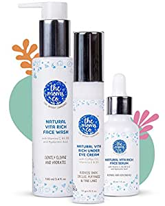 The Moms Co. Natural Vita Rich Night Repair Combo with Vitamin C Face Wash, Face Serum and Under Eye Cream