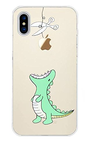 iPhone X Handyhülle Schutzhülle Hülle Silikon Cover Case Ultra Slim Ultradünn Etui aus TPU transparent Dino
