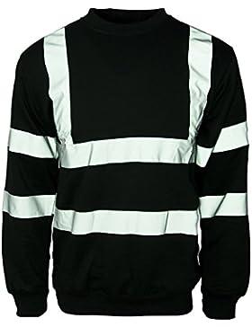 Hi Viz cuello redondo en la parte superior y para hombre el sudor-camiseta de manga corta de seguridad visibilidad...