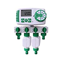 Aqualin Automatic 4-Zone Irrigation System Controller Garden Water Timer Watering Computer with 2 Solenoid Valve