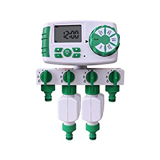 Aqualin Automatic 4-Zone Irrigation System Garden Water Timer Controller with 2 Solenoid Valve