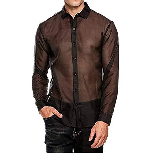iEFiEL Herren Mesh Unterhemd Transparent Unterwäsche Langarm T-Shirt Tops Reizvoll Unterwäsche Reizwäsche Wetlook Clubwear Schwarz Large