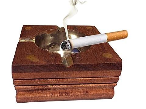 Danksagungsgeschenke Für deine Geliebten Hölzerner Aschenbecher, quadratischer Aschenbecher mit goldenem Streifen, Zigarettenspitze, Aschenbecher für draußen und drinnen