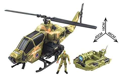 Action Army War Solider Battery Powered Machine Gun Attack Helicopter with Battle Boat with Lights and Sounds