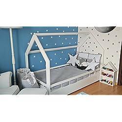 Lit maison cabane 2 en 1 avec barreaux, chambre d'enfant, bois naturel 160x80 cm (blanc)