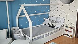 Kinderbett Hausbett Spielbett Abenteuerbett Einzelbett mit Absturzsicherung (Farbe: weiß)