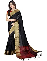 Macube Women's Bhagalpuri Silk Saree With Blouse Piece (Ms1443_Saree_N_Black)
