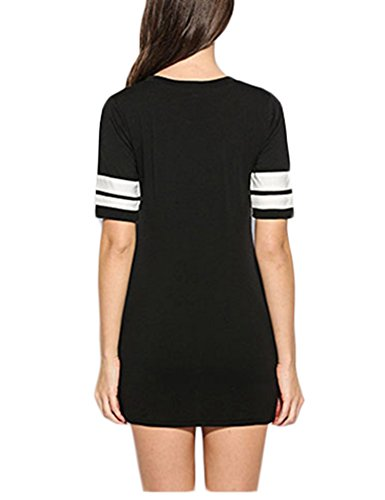 MEXI Damen Choker Halsband Minikleid Sommer T-Shirt Shirt-Kleid Top Oberteile Schwarz