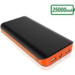 FKANT Batterie Externe 25000mAh Power Bank Portable avec Dual Port USB et 4 Mode LED Flashlight Chargeur de Secours pour Smartphone Samung Galaxy Huawei Tablette PSP D'Autre USB Via Device (Orange)