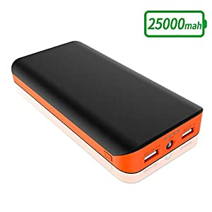 Powerbank 25000mAh, Batteria Portatile Alta Capacità Caricabatterie Portatile 2 Porte USB Ricarica Rapida con Torcia a… 4 spesavip