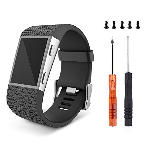 """Fitbit Surge Armband,Keweni Neueste TPU Armband Strap Ersatzband für Fitbit Surge (schwarz, Groß(6.3""""-7.8""""))"""