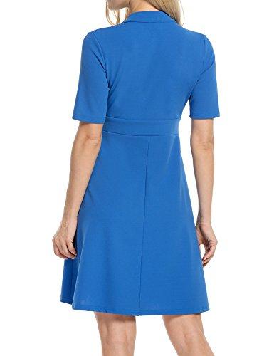 Zearo Damen Kleider Elegant Kurz Knielang Langarm Partykleider Cocktailkleider Blau