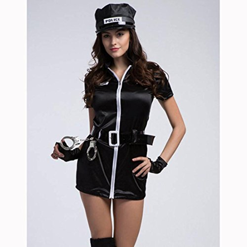 DuuoZy Frauen Sexy Policewoman Uniform Kostüm Set Cosplay Fancy Dress , black , one size (Halloween Sexy Customes)