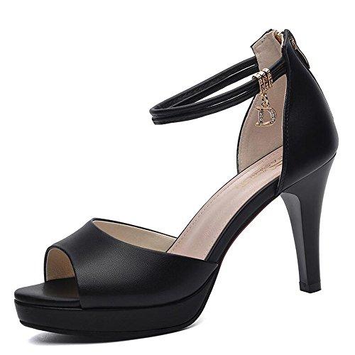 Haizhen scarpe da donna scarpe da donna primavera estate comfort tacchi tacco a spillo per matrimonio party & evening black white per le donne (colore : nero, dimensioni : eu39/uk6/cn39)