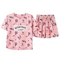 Cotton Sleepwear Pink Ice Cream Print Pajamas Female Suit Cute Pyjamas Women Casual Home Wear