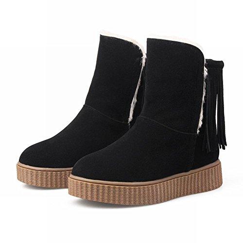 Mee Shoes Damen Quaste runde Durchgängiges Plateau Scheestiefel Schwarz