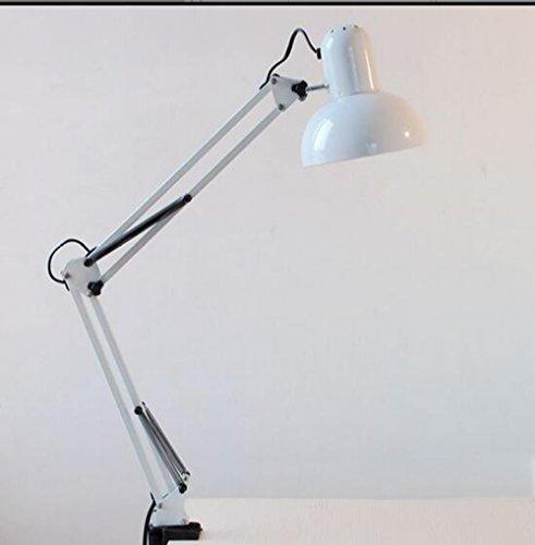 Led Tisch Lampe Augenschutz Lernen Schreibtisch Lampe Student Schlafsaal Ordner Bett lange lange Arm Clip Tischlampe (Farbe : Weiß)