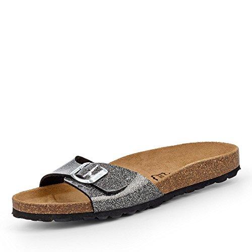Bio Life BIOlife 0881.160 Damen Pantolette aus Lederimitat mit lederbezogenes Fußbett, Groesse 38, schwarz/Silber